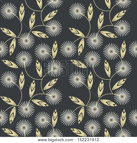 Seamless pattern with white camomile flowers can be used for linen, design fabric and more designs. Vector template.