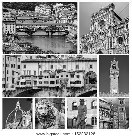 Set of Florence travel photos - landmarks of the city - Old Bridge Basilica Santa Maria di Fiore Neptune and Lion Sculptures Old Palace tower. Aerial view details. Black and white