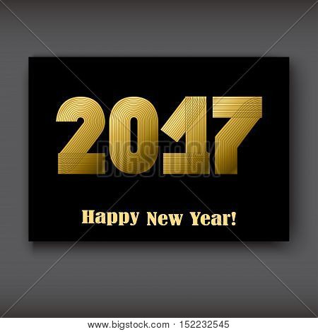 Happy New 2017 Year modern design gold on black background year 2017 in thin lines striped minimalist numbers written with a pen vector illustration