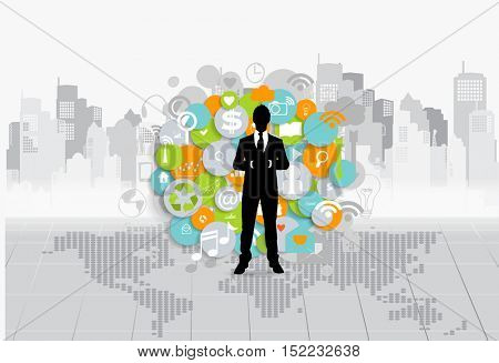 Business concept with businessman and cloud of application. Vector illustration.