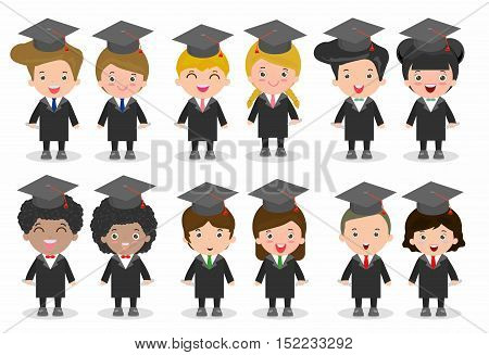 set of Graduation kids, happy child graduates, Graduation children,Graduates in gowns and with diploma, students graduating, university students graduation,people graduation, Different nationalities