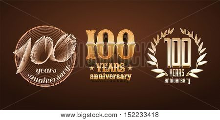 100 years anniversary set of vector logo icon number. 100th birthday graduation anniversary jubilee decoration design elements signs emblem symbol badge in gold