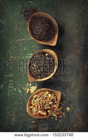 Assortment of dry tea. Tea composition with different kind of tea. Tea concept.