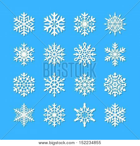 Cute snowflake collection isolated on blue background. Flat snow icons snow flakes silhouette. Nice snowflakes for christmas banner cards. New year snowfall. Organic and geometric snowflakes set.