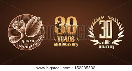 30 years anniversary set of vector logo icon number. 30th birthday marriage or graduation anniversary jubilee decoration design elements signs emblem symbol badge in gold
