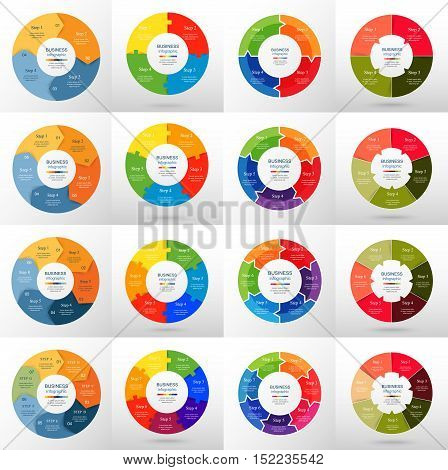 Vector circle infographic set. Business diagrams round arrows graphs puzzle presentations and charts. Data infographics with 4 5 6 7 options parts steps cycle processes.