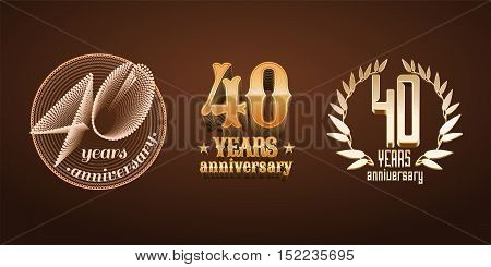 40 years anniversary set of vector logo icon number. 40th birthday marriage or graduation anniversary jubilee decoration design elements signs emblem symbol badge in gold