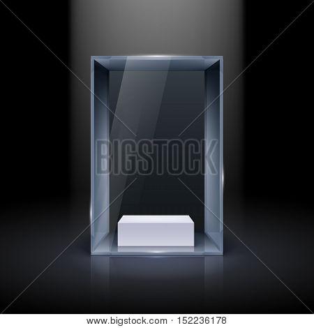 Glass Showcase for Presentation on Black Background