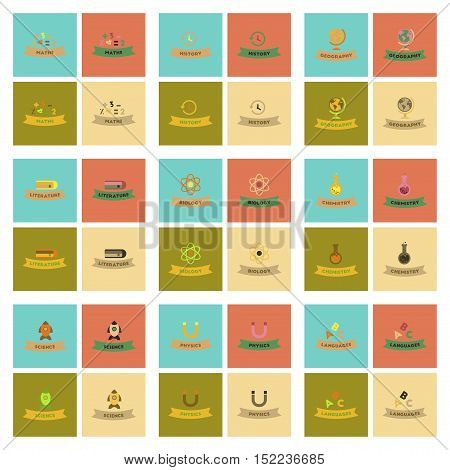 assembly of flat icons rocket science geography physics languages history math biology chemistry lesson