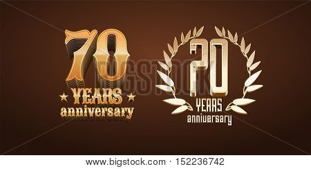 70 years anniversary set of vector logo icon number. 70th birthday marriage or graduation anniversary design elements in gold