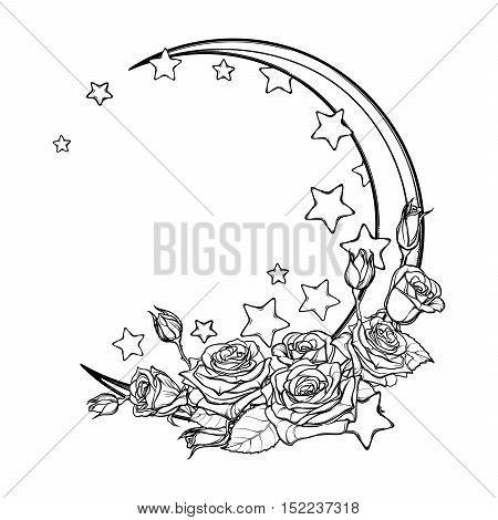 Kawaii Night sky composition with Roses bouquet, stars and moon crescent. Festive background or greeting card. Intricate hand drawing isolated on white. Cute girly art. EPS10 vector illustration