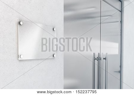 Blank glass nameplate design mockup 3d rendering. Signplate mock up on the wall near office entrance interior. Signage panel door number template. Clear printing sign board for branding near store.