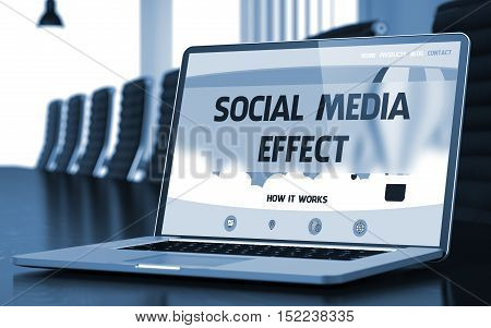 Social Media Effect Concept. Closeup Landing Page on Mobile Computer Screen on Background of Meeting Hall in Modern Office. Toned Image. Blurred Background. 3D.