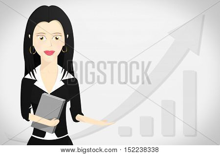 Business woman character formally dressed and holding a book with outstretched hand pointing to right . Business growth graph on sales background.