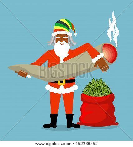 Rasta Santa Claus Wishes. Big Red Sack Hemp . Bag Of Marijuana. Pile Of Green Cannabis. Great Joint