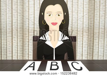 Character woman sitting in a chair in front of the table, gives three options, A, B and C. Scenario composed of a woman dressed like a business woman with papers on the table.