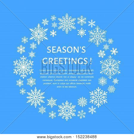 Cute snowflake poster banner. Season's greetings. Flat snow icons snowfall. Nice snowflakes for christmas banner cards. New year snowflake. Merry Christmas wreath
