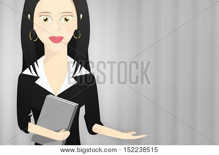 Character woman dressed as a businesswoman waving a hand to the side and with books on the other hand. Blank space on the right side to put text.