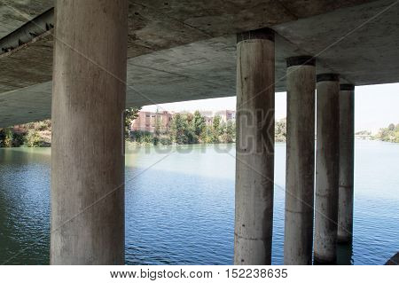 Fantastic view of the river from under the bridge