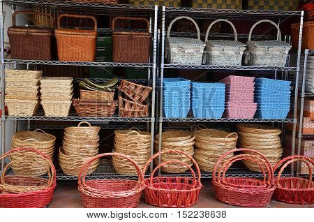 Rattan Basket Trays Shop at outdoor of Arab Street Singapore