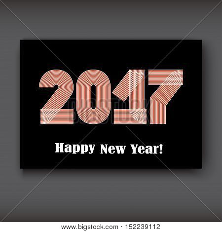 Happy New 2017 Year modern design on black background year 2017 in thin lines striped minimalist numbers written with a pen vector illustration