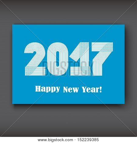 Happy New 2017 Year modern design on blue background year 2017 in thin lines striped minimalist numbers written with a pen vector illustration