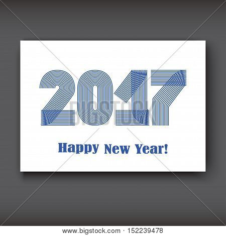 Happy New 2017 Year modern design on white background year 2017 in thin lines striped minimalist numbers written with a pen vector illustration