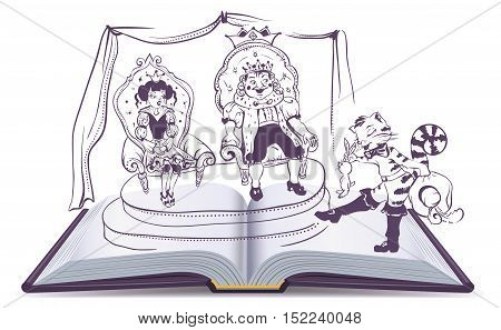 Open book illustration Tale of Puss in Boots. Vector cartoon isolated on white