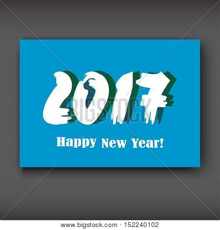 Happy New 2017 Year modern design on blue background year 2017 in brush stroke pattern vector illustration