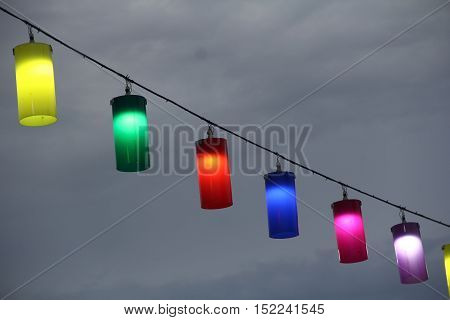 The wind made colorful lamp on dark sky breeze