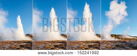 Great view of Strokkur geyser in morning light. Popular tourist attraction. Unusual and gorgeous scene. Location place Haukadalur valley area, Iceland, Europe. Vertical photo. Beauty world.