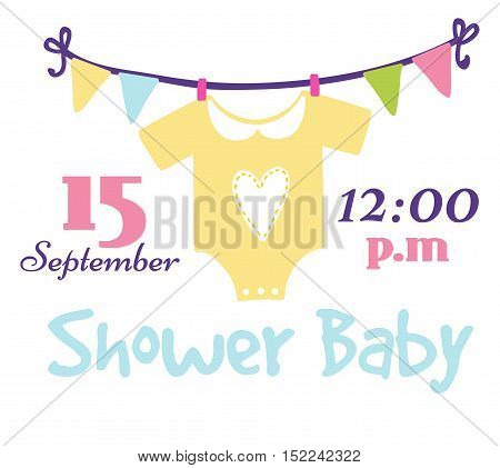 Baby shower invitation card vector graphic. Party template vintage cute birth baby shower invitation. Welcome greeting baby shower invitation decoration celebration.
