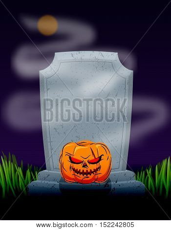 Grave In Cemetery At Night. Tombstone And Spooky Pumpkin. Illustration For Halloween Scary Holiday.