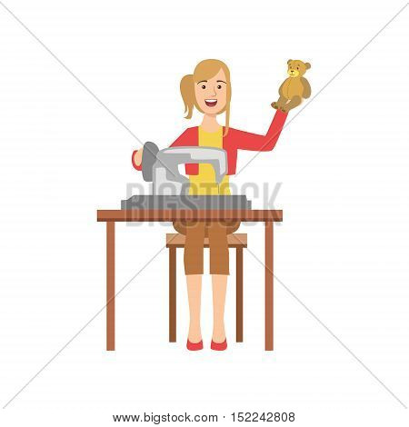 Woman Making Handmade Toys, Creative Person Illustration. Flat Simplified Childish Style Cute Vector Illustration Isolated On White Background