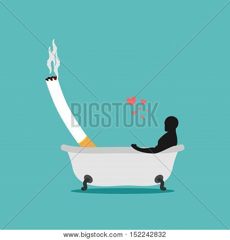 Lover Smoke. Man And Cigarette In Bath. Smoker Bathing. Nicotine Lovers Clean. Romantic Illustration