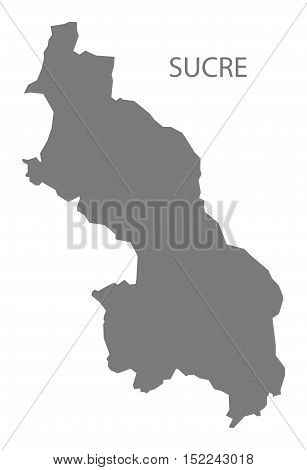 Sucre Colombia Map in grey illustration high res