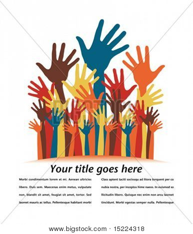 Large group of happy hands with copy space vector.