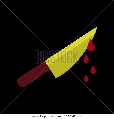 flat icon on stylish background of knife blood