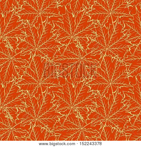 seamless pattern of transparent maple leaves with veins on an orange background