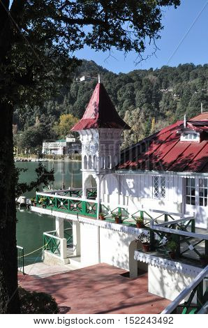 NAINITAL, UTTARAKHAND, INDIA-NOVEMBER 11, 2015: Old House Governer Boat House at Nainital, Uttarakhand, India. Nainital is a popular hill station in Uttarakhand, named after the Goddess Naina Devi. It also known as the 'Gateway to Kumaon Himalayas'.  Situ