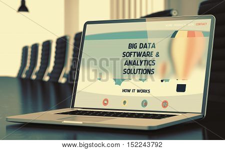 Mobile Computer Screen with Big Data Software and Analytics Solutions Concept on Landing Page. Closeup View. Modern Conference Room Background. Blurred. Toned Image. 3D.