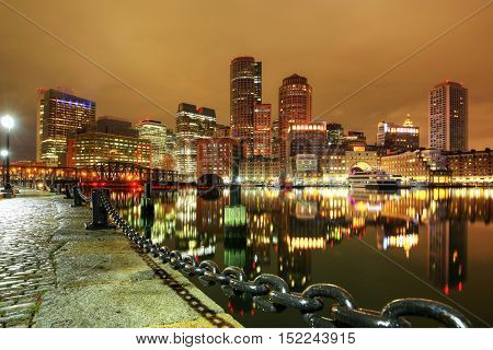 Boston, Massachusetts, USA downtown skyline of the financial district..
