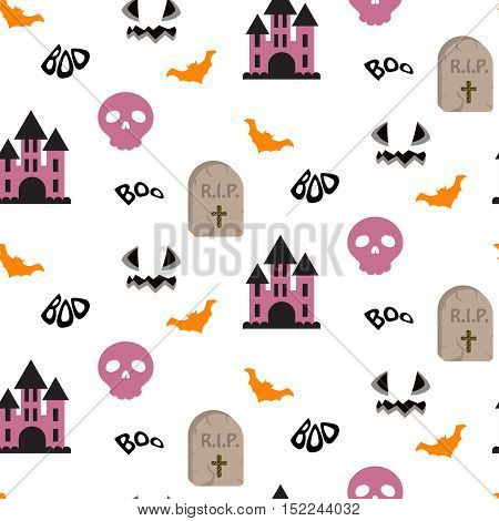 Halloween vector seamless pattern. RIP tomb, flying bats, skulls and purple castle repeating background on white.