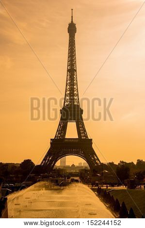 View at famous Tour Eiffel at sunset Paris France