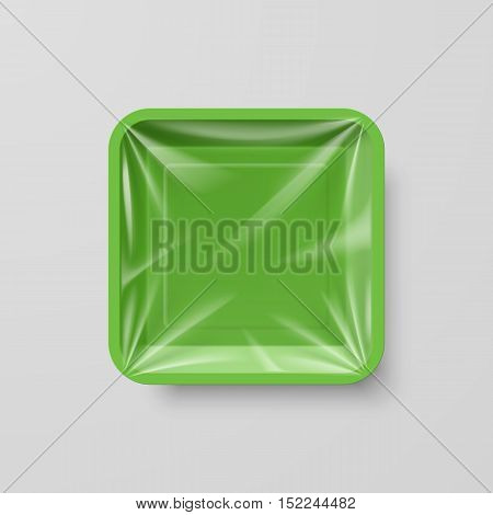 Empty Green Plastic Food Square Container on Gray