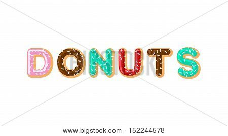 Donuts Typography. Pie Alphabet. Baked In Oil Letters. Chocolate Icing And Sprinkling. Food Letterin