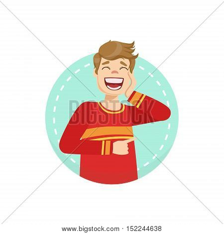 Laughing Emotion Body Language Illustration. Emotional Facial Expression And Gesture With Man In Red T-shirt In Blue Round Frame .