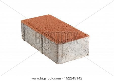 Single red pavement brick isolated. Concrete block for paving