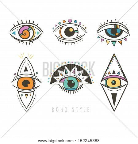 hand drawn mystic eyes, vector illustration with esoteric symbols with eyes