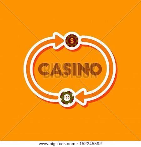 paper sticker on stylish background of poker casino chips